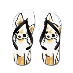 Poppylife Smooth Chihuahua Cream Please Flip Flops Adults S, Black * You can find more details by visiting the image link.