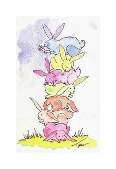 Easter Card- Funny Spring Bunny Rabbit Card- Rabbit Art- Rabbit Card- Pastel Bunny Rabbit Watercolor Painting Illustration Print 4x6