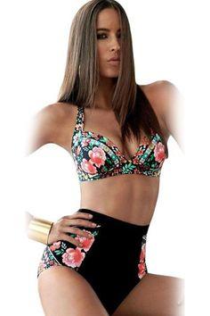 Prix: €12.96 Maillots De Bain Taille Haute Vintage Imprime Floral Noir Taille Haute Bikini Pas Cher www.modebuy.com @Modebuy #Modebuy #CommeMontre #Noir #me #sexy