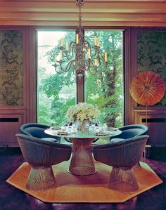 Platner coffee table in vintage room.