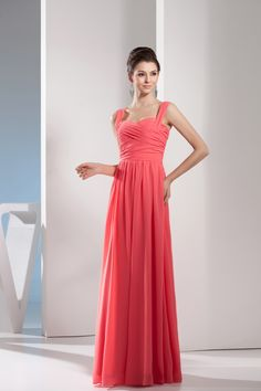 $138.99 A Line Princess Sweetheart Floor Length Chiffon dress with Ruffles -Bridesmaid Dresses-DeniseDress