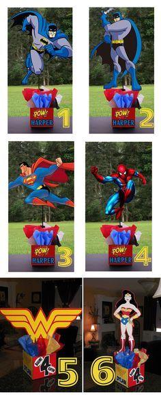 "DIY 12"" Small Superhero Birthday Party Centerpieces baby shower wonder woman batman spiderman superman Super Hero. $10.00, via Etsy."