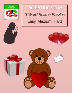 Valentine's Day Word Search for kids and adults - Valentine's Word Search. Three Valentine's Word Search puzzles for Valentine's Day or Valentine Card. Valentine's Day easy word search for K and elementary, Valentine's Day medium word search for elementary and middle school, Valentine's Day hard word search for middle school through high school.