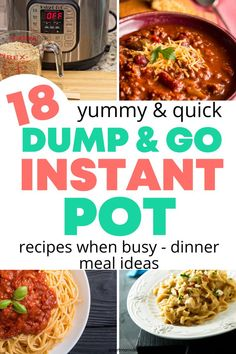 Get 18 quick and easy & delicious dump and go Instant Pot recipes for dinner ideas. Instant Pot Dinner Recipes, Quick Dinner Recipes, Quick Meals, Unique Recipes, Great Recipes, Healthy Recipes, Peanut Butter Chicken, Make Garlic Bread, Meal Prep Guide
