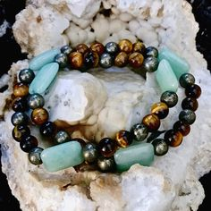 Green Aventurine, Tigers Eye and Pyrite Healing Crystal Double Wrap Bracelet Handmade by Soul Sisters Designs