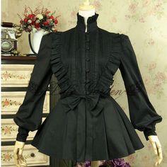 New Girls Ladies Custom Made Cotton Lantern Sleeve Long Gothic Lolita Blouse Women Slim-Cut Bow Shirt Cosplay Costume Lolita 37