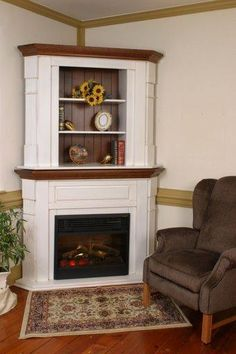 amish corner fluted fireplace mantel with bookshelves