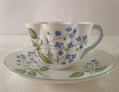 Shelley Dainty Tea Cup & Saucer  American Brooklime  by TheEclecticAvenue on Etsy https://www.etsy.com/listing/244901980/shelley-dainty-tea-cup-saucer-american