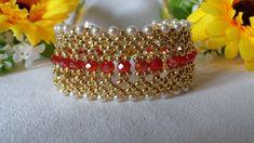 bead weaving patterns for bracelets Bead Loom Designs, Beaded Jewelry Designs, Seed Bead Jewelry, Bead Jewellery, Bead Crochet Patterns, Beading Patterns Free, Beading Tutorials, Weaving Patterns, Beaded Bracelets Tutorial