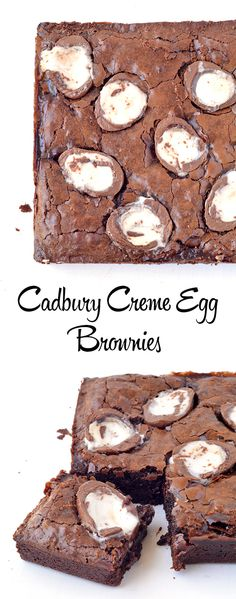 If you love chocolate and Easter eggs, then these Cadbury Creme Egg Brownies are for YOU! Gooey brownies that have creme eggs IN the batter and on top! Best Brownies, Gooey Brownies, Chocolate Brownies, Cadbury Brownies, Best Brownie Recipe, Brownie Recipes, Cadbury Creme Egg Recipes, Baking Recipes, Dessert Recipes