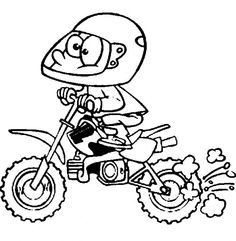 funny coloring page of a rider with his motorcross dirt bike