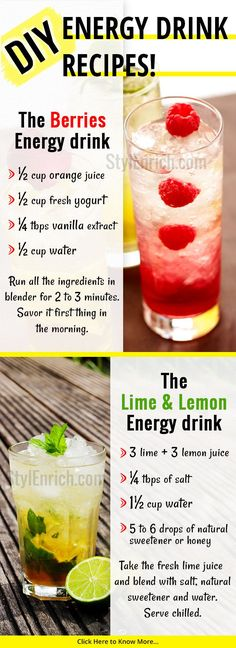 If you are looking for #EnergyDrinks #Recipes that make you healthy then these homemade healthy energy drinks recipes help you to make the most natural and pure energy boosting drinks at home.