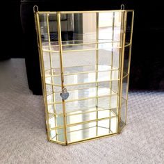 Large Glass display case /  mirrored glass shelves with brass trim / brass Glass Display by EllasAtticVintage on Etsy Glass Display Case, Glass Shelves, Vintage Home Decor, Brass, Mirror, Store, Unique Jewelry, Handmade Gifts, Beautiful