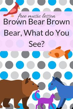 Free Music Lesson: Brown Bear Brown Bear what do you see? This is one of my favorite lessons-- my first graders request it by name! In this kindergarten and first grade lesson, students will play, solo sing, read rhythms, and read a book! Kindergarten Music Lessons, Preschool Music Activities, Elementary Music Lessons, Music Lessons For Kids, Music Lesson Plans, Music For Kids, Teaching Music, Book Activities, Elementary Schools