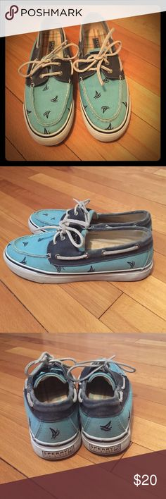 Sorry top siders Dark blue and turquoise with sail boat pattern. Lightly used Sperry Top-Sider Shoes Flats & Loafers