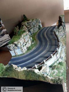 Diorama Grundplatte, Felsenstraße 2, 115 x 50 cm, 1:48 - Diorama Shop Weiß - Diorama und Modellbau Werkstatt