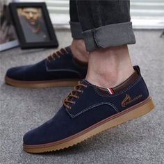 Men Suede European Style Lace Up Casual Oxford Shoes - NewChic