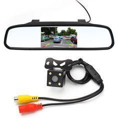 "4.3"" HD Video Auto Car Monitor Mirror + LED Night Vision Car Backup Rear View Parking Camera Car Reverse Camera Accessories"