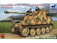 The Bronco German Sd.Kfz.132 Panzerjaeger II fuer 7.62cm Pak 36 Marder IID Model Kit in 1/35 scale from the plastic tank model kits range accurately recreates the real life German self-propelled artillery from World War II. This Bronco tank model requires paint and glue to complete.