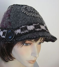 Grey Wool Hat from Repurposed Sweaters - Quirky and Fun! $40.00