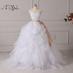 ADLN 2017 New Arrival Organza Wedding Ball Gown Sexy Sweetheart Neck  Ruffles Bridal Dresses Custom Make e94a4c04567b