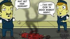 Idees Vol Vrees Volume 2 Afrikaans Quotes, One Liner, Super Funny, Puns, Robot, Haha, Comedy, Family Guy, Cartoon