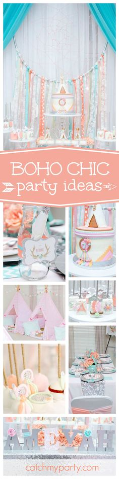 Check out this beautiful Princess Boho birthday party. Love the gorgeous tents for the sleepover!! See more party ideas and share yours at CatchMyParty.com