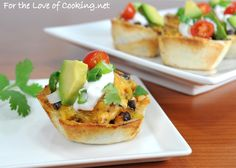Creamy Chicken Taco Cups. (tortilla shells cut into smaller circles to line muffin tins.) Nice switch for Mexican night.