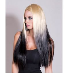 Golden blonde and black reverse ombre wig / dip dye wig, other styles and colours available to buy online UK