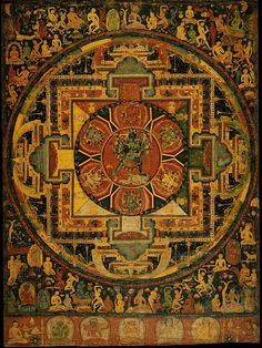 Chakrasamvara Mandala, Nepal, Metropolitan Museum of Art. One of the oldest mandala paintings on cloth known to exist. It is very detailed with figures, many doing forms of tantric yoga and dance. Tibetan Mandala, Tibetan Art, Tibetan Buddhism, Buddhist Art, Thangka Painting, Mandala Painting, Vajrayana Buddhism, Tantra, Tantric Yoga