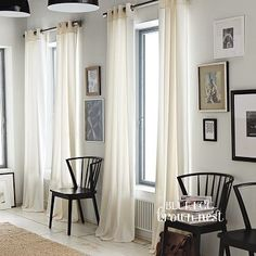 Choose drapes in neutral colours and light fabric (cotton, silk, linen). Length should pool slightly