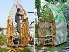 Fabriquer une serre avec des tiges de bambou et des bouteilles en plastique. Celle-ci a été réalisée au Vietnam - Photos : Archdaily.com