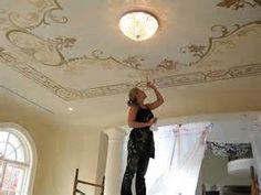 Artist painting flat ceiling!  Beautiful!