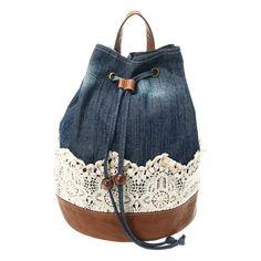 Denim Duffle Crochet Backpack