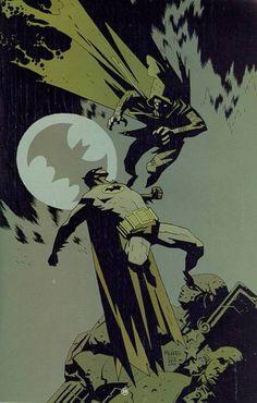 Batman vs. Scarecrow (?) by Mike Mignola
