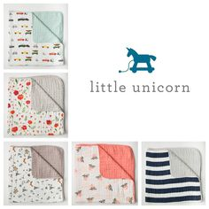 Little Unicorn Quilts! #littleunicorn #nursery #babyshower #bedding #quilt #blanket #blankie #firstblanket #baby #toddler #cotton