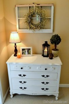 Painted dresser and old window frame.