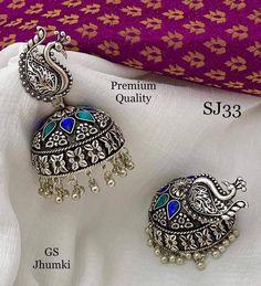 Indian jewelry,glass stones studded Jhumkas,German silver,ethnic Jewelery,peacock earrings,jhumkas,A