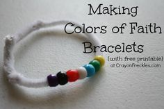 crayonfreckles: colors of faith Christian bracelet - first night of confirmation; couple with icebreaker activity Sunday School Activities, Church Activities, Bible Activities, Sunday School Crafts, Learning Activities, Children Activities, Teaching Ideas, Bible Story Crafts, Bible School Crafts
