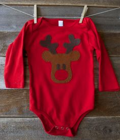 Red 3-6 month American Apparel Long Sleeve Onesie with Christmas Reindeer Appliqué on Etsy, $18.00