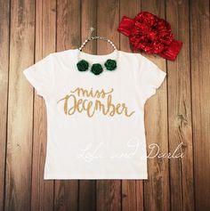 Miss December Toddler and Girls Sparkle T Shirt