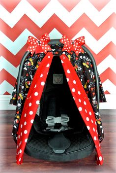 MICKEY MOUSE carseat canopy car seat cover red by JaydenandOlivia & MICKEY MOUSE carseat canopy car seat cover MINNIE red black ...