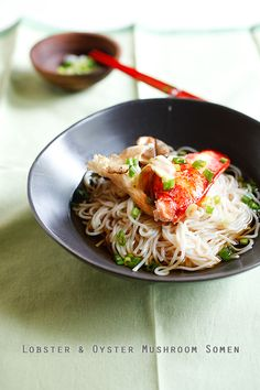 Lobster and Mushroom Noodles - easy & delicious Japanese noodles with mushroom and lobster. SLURP!!!   rasamalaysia.com
