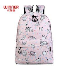 US  19.59 51% OFF Aliexpress.com   Buy WINNER Cute Cat Print Backpack For  Teenager Girls School Bag Female Travel Rucksack Laptop Mochila Escolar  Feminina ... 3a09cd720a