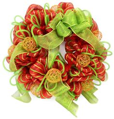 Copper wire balls used in a Christmas Wreath with Deco Mesh: A Video Tutorial
