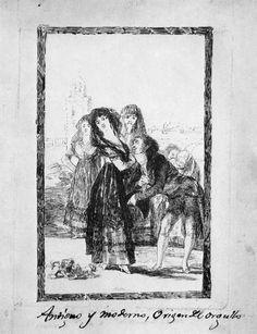 """Goya- Capricho 27.  """"¿Quién más remedio?;""""  Goya y la Duquesa de Alba.  La mujer desdeña al que verdaderamente la quiere.  Bécquer"""