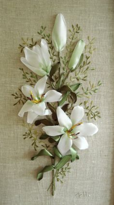White lilies #ribbonEmbroidery