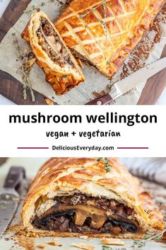 This vegetarian wellington make for an incredible vegetarian and vegan main dish. Savory portobello mushrooms are wrapped in a flaky golden puff pastry. It's a perfect meatless alternative to traditional beef wellington. Vegetarian Thanksgiving Main Dish, Vegetarian Roast, Vegan Beef, Vegetarian Main Dishes, Vegetarian Recipes Dinner, Vegan Dishes, Veggie Recipes, Food Dishes, Cooking Recipes
