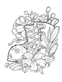Coloring for adults - Kleuren voor volwassenen Cute Coloring Pages, Colouring Pics, Flower Coloring Pages, Coloring Pages To Print, Printable Coloring Pages, Adult Coloring Pages, Creative Haven Coloring Books, Floral Tattoo Design, Tattoo Designs