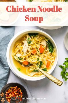 EASY chicken noodle soup with kale that is cooked in under 30 minutes in the Instant Pot. It is SO healthy, delicious and simple that ANYONE can make it. Few basic ingredients and you have a comforting one-pot meal for those busy weeknights! #ministryofcurry #instantpot Quick Soup Recipes, Kale Recipes, Instant Pot Dinner Recipes, Chowder Recipes, Delicious Dinner Recipes, Curry Recipes, Easy Chicken Recipes, Indian Food Recipes, Appetizer Recipes
